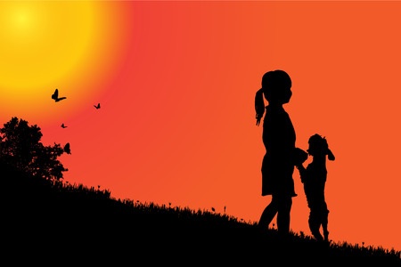 nature silhouette: Vector silhouette of a girl with a dog at sunset.