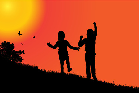 silueta niño: Vector silueta de niños al atardecer. Vectores