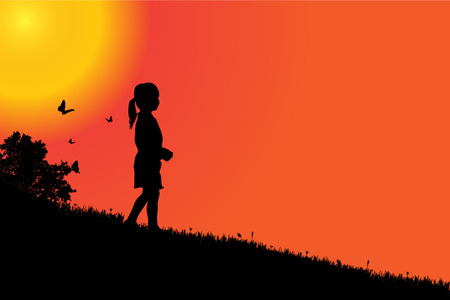 silueta niño: silueta de una niña al atardecer. Vectores