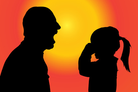crying child: silhouette of father and daughter at sunset.