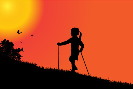 morning walk: silhouette of a girl at sunset. Illustration