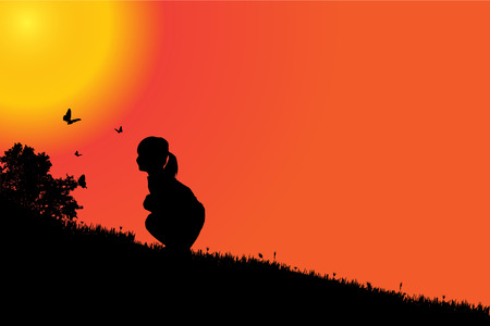sunset sky: silhouette of a girl at sunset. Illustration