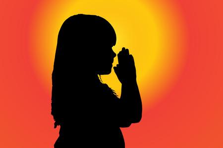 fanatics: silhouette of girl who pray at sunset. Illustration
