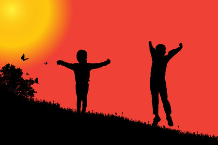 sunset sky: silhouette of a children at sunset. Illustration