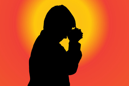 fanatics: silhouette of boy on sunset background.