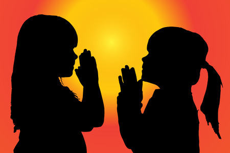 christian young: silhouette of children who pray at sunset. Illustration
