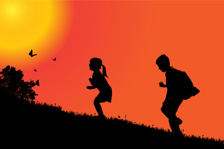 morning walk: silhouette of a children at sunset. Illustration