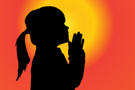 christian young: silhouette of girl who pray at sunset. Illustration