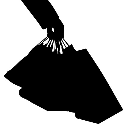 l boy: Vector silhouette of a man with a shopping bag. Stock Photo