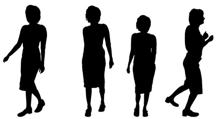 attractive woman: Vector silhouette of a woman who run. Stock Photo