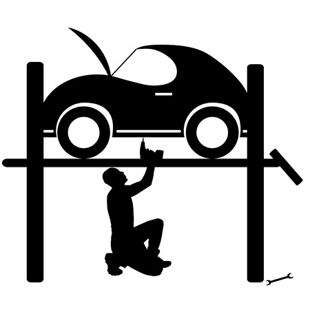 repairs: Vector silhouette car repairs on a white background. Stock Photo