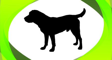 staying: Vector silhouette of a dog in a box.