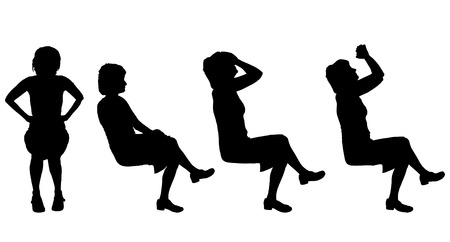 fury: Vector silhouette of a woman who is sitting on a white background.