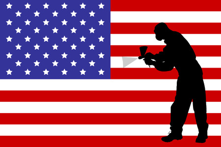 handy man: Vector silhouette of a painter who squirts flag.