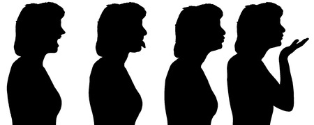 profile silhouette: Vector silhouette of a woman in profile on a white background. Illustration