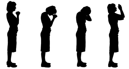fanaticism: Vector silhouette of a woman on a white background.