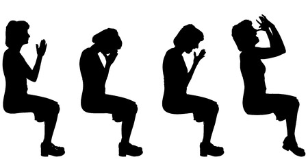 hopeless: Vector silhouette of a woman who is sitting on a white background.