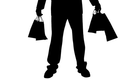 l boy: Vector silhouette of a man with a shopping bag. Illustration