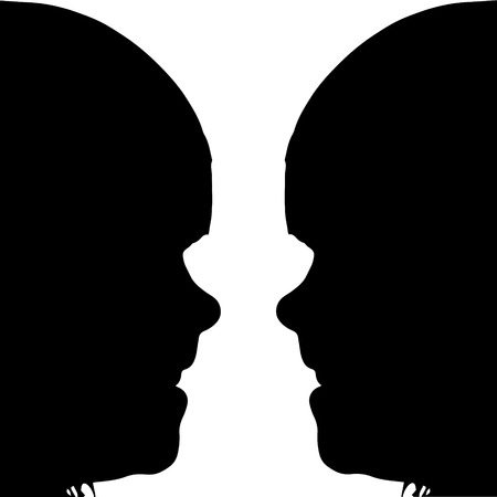 twin sister: Vector silhouette profile face girls on a white background.