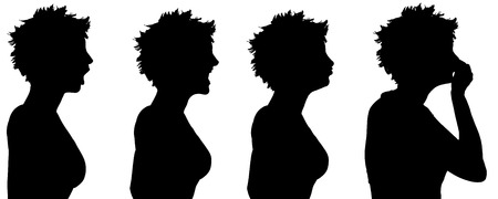 hopelessness: Vector silhouette of a woman in profile on a white background. Illustration