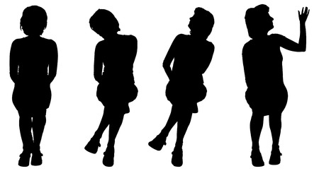 legs: Vector silhouette of a woman who is sitting on a white background.