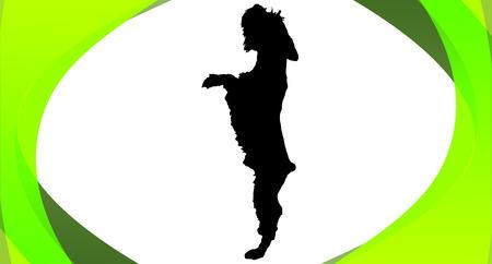 schnauzer: Vector silhouette of a dog in a box.