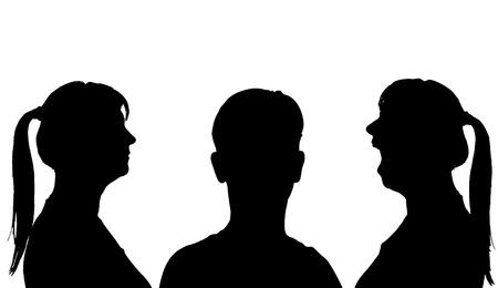 Vector silhouette profile face woman on a white background. Vector
