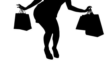 ショッピング バッグを持つ女性のベクトル シルエット。