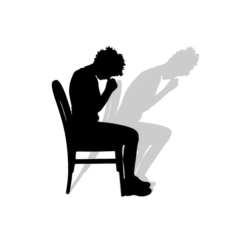 woman praying: Vector silhouette of a woman praying on a white background. Illustration