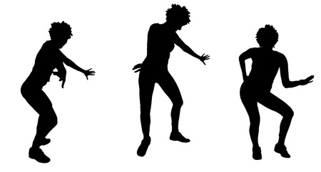 zumba: Vector silhouette of a woman who dances. Illustration