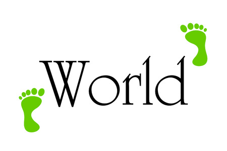 going green: Vector inscription world black on a white background.