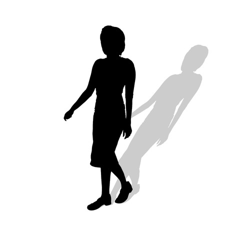 lifestile: Vector silhouette of a woman on a white background.