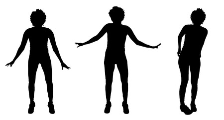 Vector silhouette of a woman who dances. Illustration
