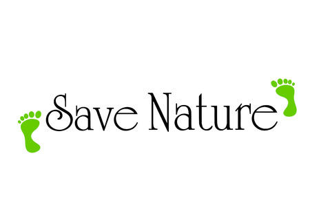 going green: Vector inscription save nature on white background.