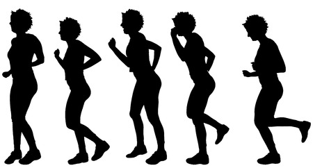 zumba: Vector silhouette of a woman who run. Illustration