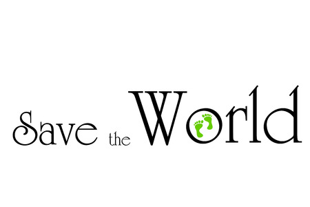 going green: Vector inscription save the world on white background. Illustration