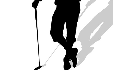 nice guy: Vector silhouette of legs man who plays golf. Illustration