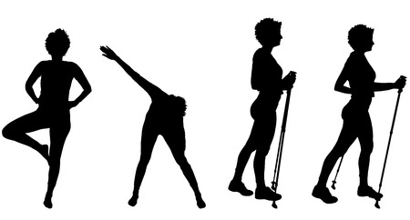 yoga outside: Vector silhouette of a woman with Nordic walking. Illustration