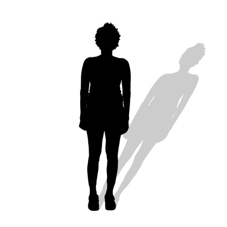 nice stay: Vector silhouette of a woman on a white background.