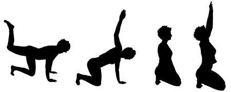 flexible girl: Vector silhouette of a woman who trains.