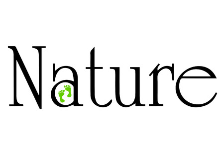 Vector inscription nature black on a white background.