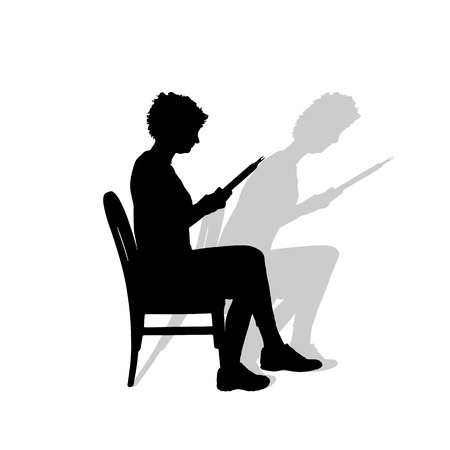 Vector silhouette of a woman who reads on a white background. Vector