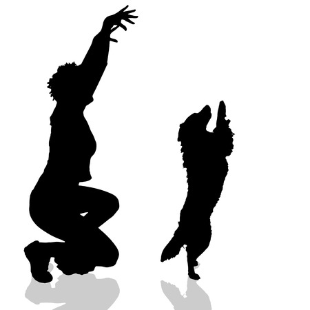 fondle: Vector silhouette of a woman with a dog on a white background. Illustration
