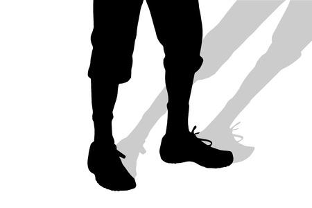 pies masculinos: Vector silueta de pies masculinos en un fondo blanco.