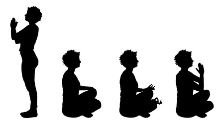 meditaion: Vector silhouette of a woman who trains.
