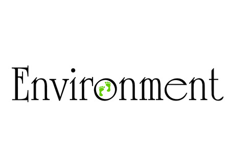 going green: Vector inscription environment on a white background. Illustration