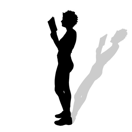 reads: Vector silhouette of a woman who reads on a white background. Illustration