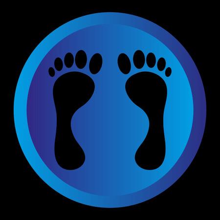 blue circle: logotipo negro pie en c�rculo azul de fondo Vectores
