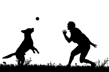 person silhouette: Vector silhouette of a man with a dog on a meadow. Illustration