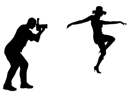 naked woman sitting: Silhouette photographer at work with sexy model.